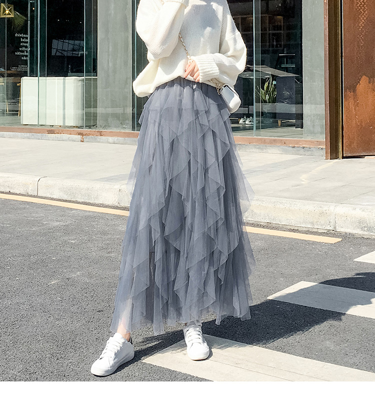 Women irregular Tulle Skirts Fashion Elastic High Waist Mesh Tutu Skirt Pleated Long Skirts Midi Skirt Saias Faldas Jupe Femmle 50