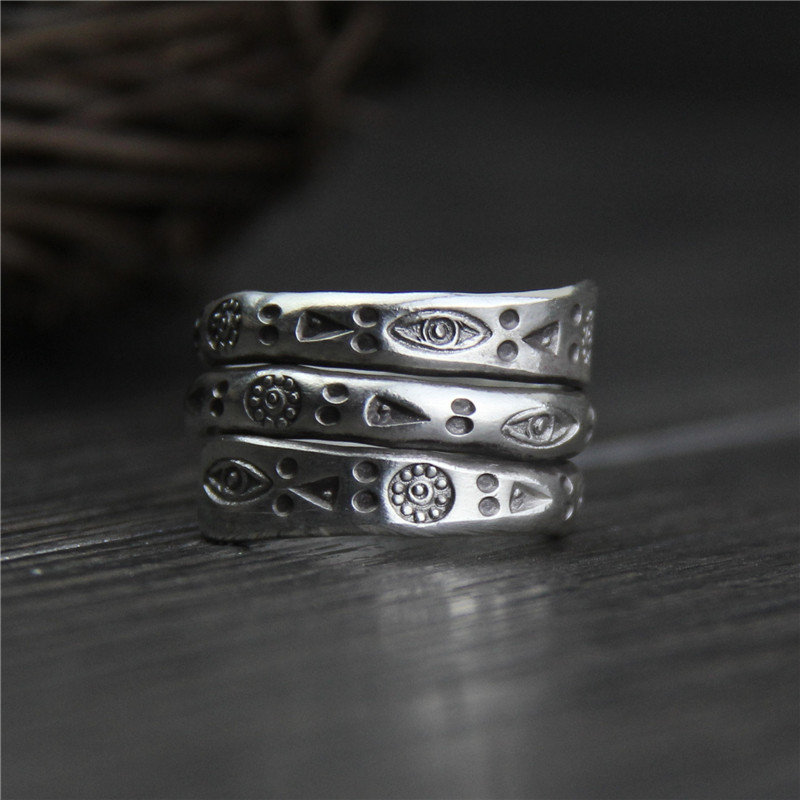 Real Pure 999 Sterling Silver Rings For Women Multilayers Handmade Engraved Flowers Eyes Triangle Geometric Pattern Ethnic Rings handmade stripe pattern exaggerated flower leaves rings wide real pure 999 sterling silver rings for women lady vintage jewelry