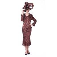 Kueeni Women Church Suit Brocade Fabric Polka Dot Brooch Coffee Mother Of Bride Wedding Dress Wear