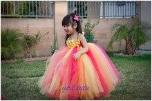 Ребенок 2016 новых детей платье девушки Фиолетовые цветы платье на заказ ручной ТУТУ платье День Рождения платье
