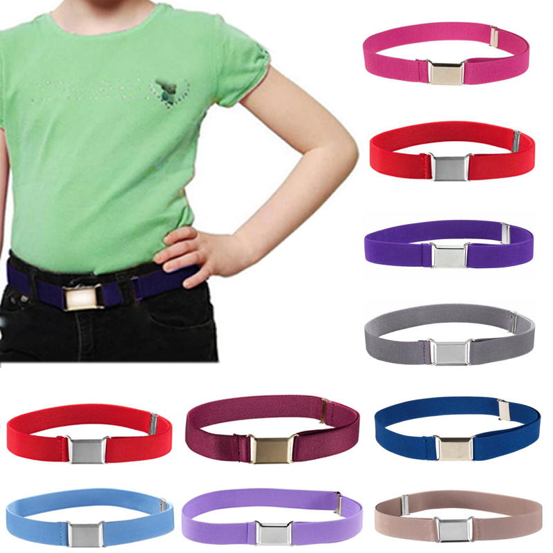 Fashion Simple Boys Girls Metal Buckle Canvas Elastic Belts Adjustable Unisex Soild Color Belt Clothing Accessories