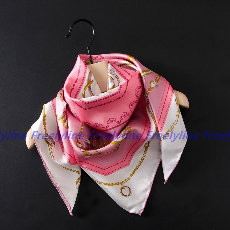 100% Silk Twill   Scarf   Women Large Square Silk Scarfs Shawl   Wraps   Luxury Hand Rolled 90x90cm