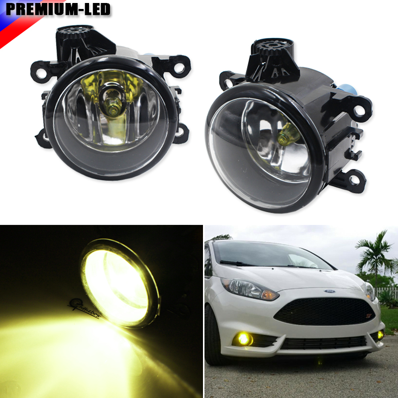 (2) Gold Yellow 3000K Fog Light Lamp Replacement w/ H11 Halogen Bulb For Acura Honda Ford Nissan Subaru, Good For LH or RH beler fog light lamp h11 female adapter wiring harness sockets wire connector for ford focus fiesta acura nissan honda subaru