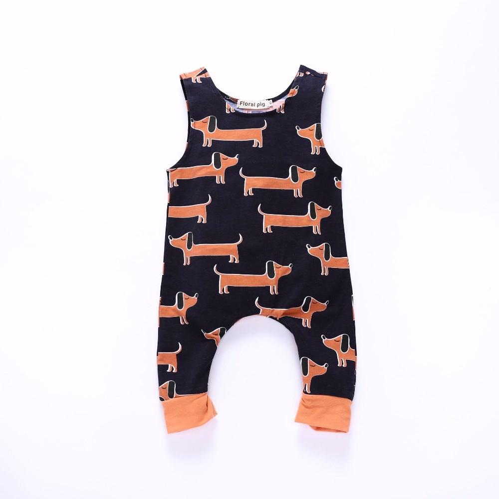 2018 junge Herbst Strampler Baby Mädchen Overall Tiny Baumwolle Sleeveless Hund Gedruckt Zipper Onesie Baby Infant Kleinkind Kleidung Outfits
