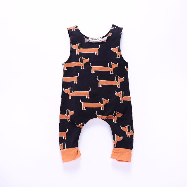 c238bf3ca6c Boy Fall Rompers Baby Girl Jumpsuit Tiny Cottons Sleeveless Dog Printed  Zipper Onesie Baby Infant Toddler