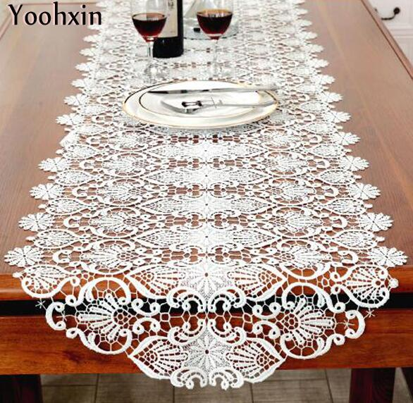 High Quality Modern Cotton Table Runner White Embroidered Tea Lace Table Cloth Cover  Towel Home Christmas Tablecloth Placemat