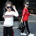 Fatos de treino conjuntos de roupas meninas novo 2017 primavera outono vermelho branco preto tops calças ternos outfits meninas roupa da escola de esportes