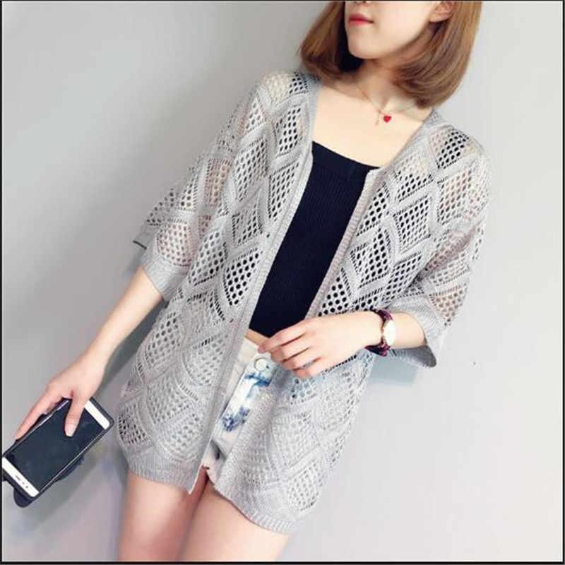 Для женщин Лето-весна осень сплошной цвет свободные блузки рубашки тонкие полые куртка Женская 5 минут рукав кардиган, вязаный свитер, пальто