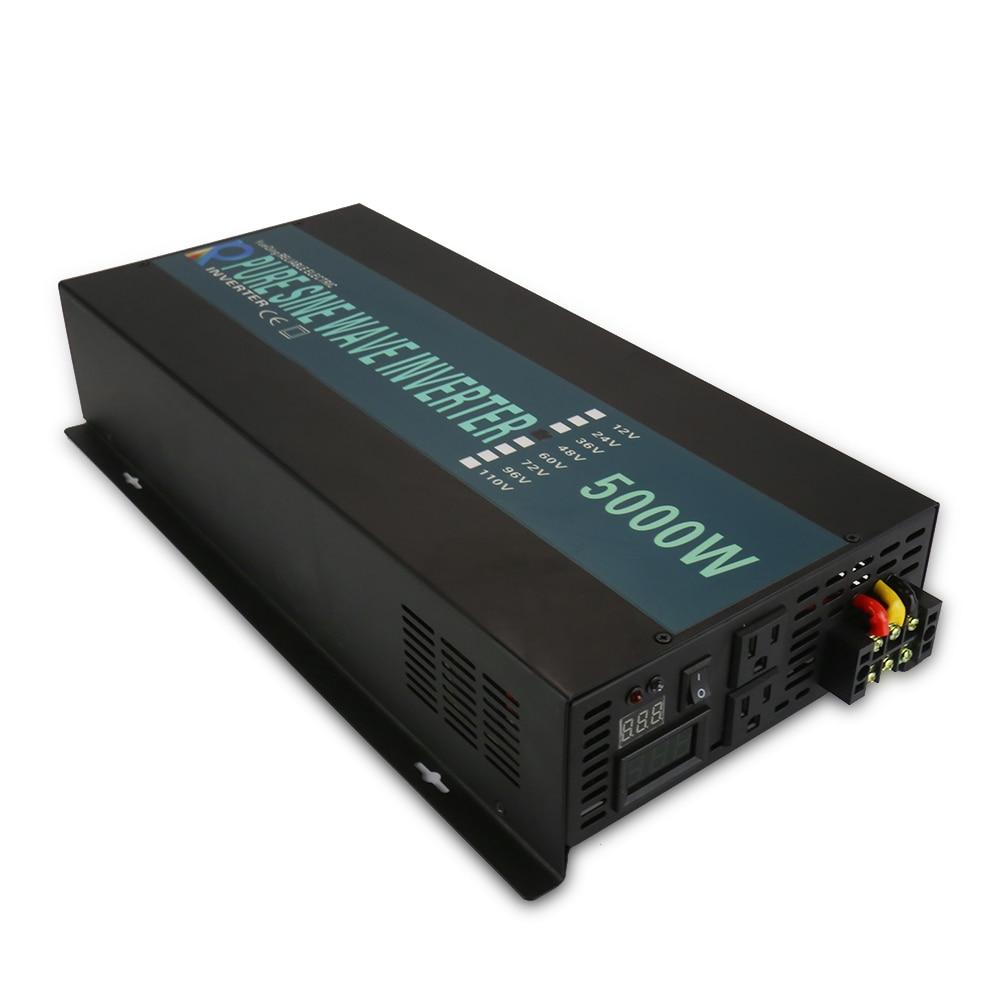 Чистая синусоида солнечный инвертор 24 В 220 В 5000 Вт генератор, инвертор Батарея Мощность Bank конвертер 12 В/ 36 В/48 В постоянного тока до 120 В/230 В/240...