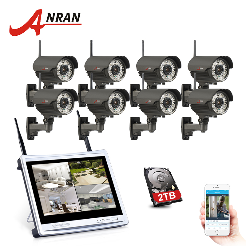 ANRAN 960P HD 8CH 12LCD Screen NVR Wireless Plug and Play 78IR Leds Night Vision Waterproof Security Camera Surveillance Kit ...