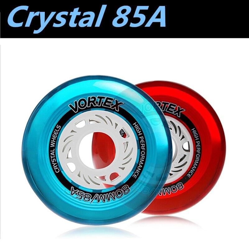 Prix pour [Cristal Roue] 8 Pcs/Lot 85A Slalom FSK Rue Patins À Roues Alignées Roue, haute Transparent Cristal Élastique Durable 80mm 76mm 72mm