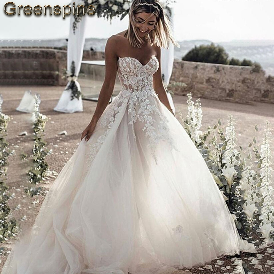 Floral Off The Shoulder Wedding Dress 2019 Sweetheart Lace
