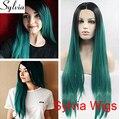Sylvia hot verde peruca reto de seda com raízes negras alta qualidade ombre verde longa reta sem cola rendas frente perucas sintéticas