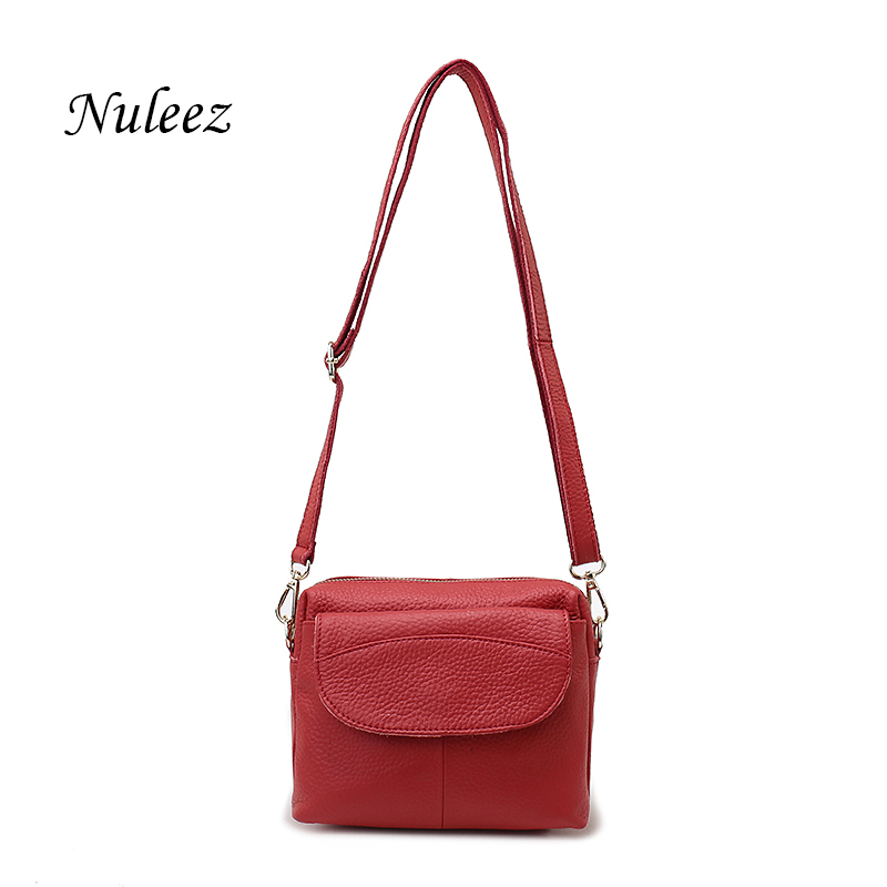Nuleez Red Green Gray Crossbdoy Bag Genuine Leather Women Messenger Bag Real Leather Soft Flap Ladies Small Shoulder Bag 3106