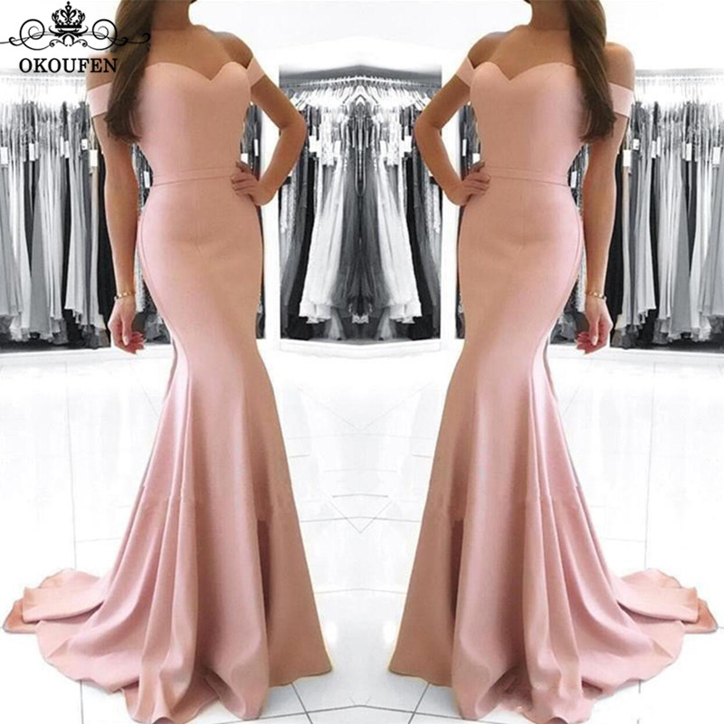 Discount Mermaid Long   Bridesmaid     Dresses   For Women Pleat Sweep Train 2019 Pink Satin Off Shoulder Prom   Dress   Maid Of Honor Gown