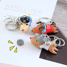 new Cartoon 3D Cute Pet Dog Bulldog Car Keychain Animal Lovely Pug Husky Keyring Bag Charm Trinket Toy For Men Woman Jewelry