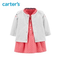 2pcs polka dot kitty face with 3D ears Dress Cardigan Set Carter's baby girl fall winter clothing 127H296
