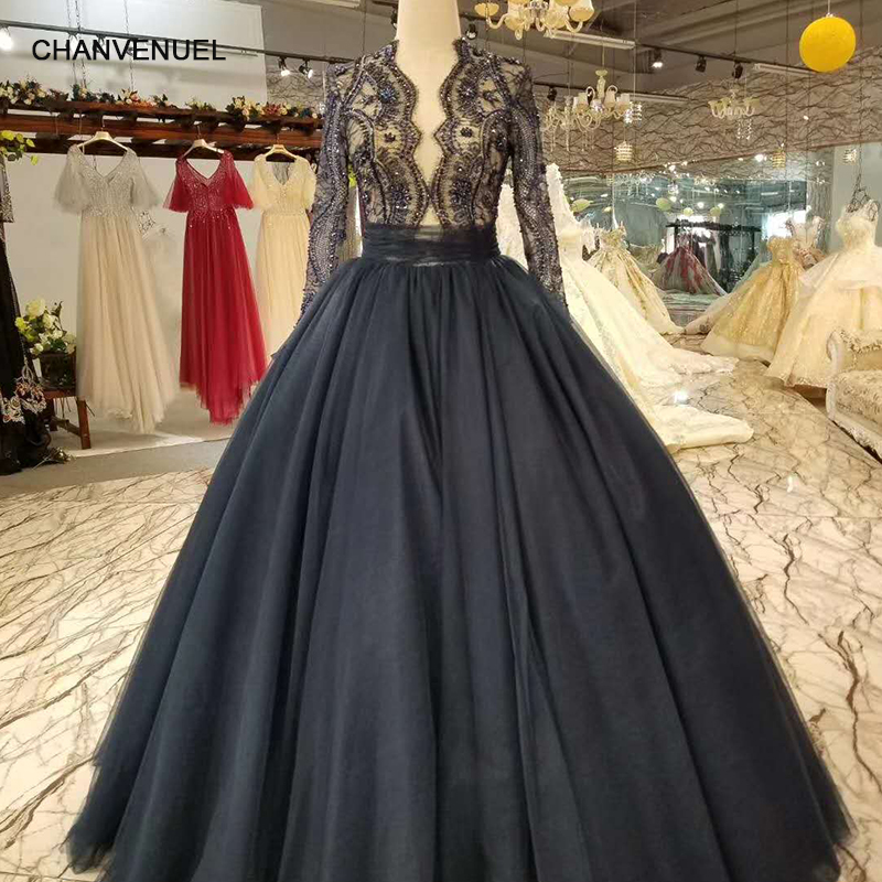 LS01452 simple lace navy blue evening dress with beading long sleeve zipper back latest evening prom