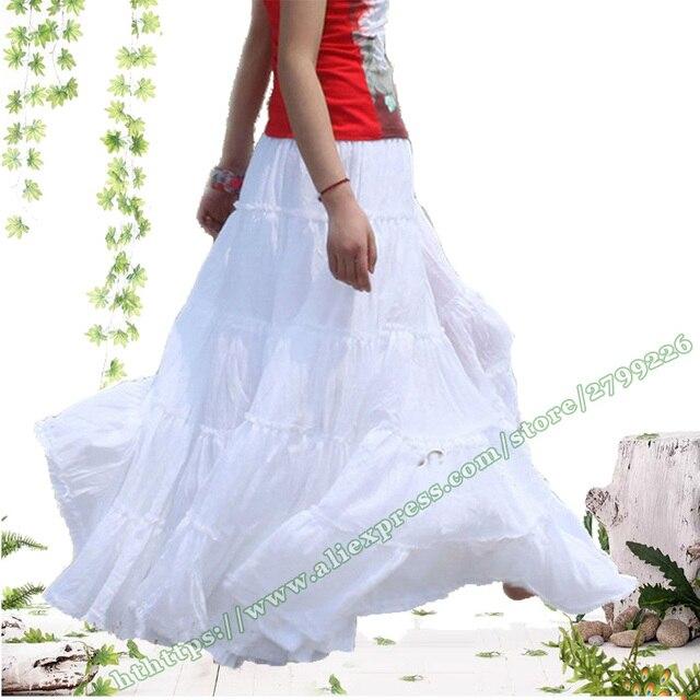 0092fc6187931b 100% coton bohème gitane décontracté BOHO cercle complet Spani plissé femme  longue jupe/blanc rouge noir Maxi Plissee jupes femmes