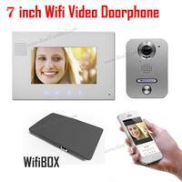 Белый Беспроводной Wi Fi ip видео домофона металла Водонепроницаемый HD Камера видео Дверные звонки домофон Системы с 7 дюймов ЖК дисплей Монит
