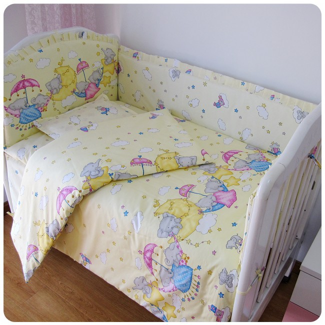 ФОТО Promotion! 6PCS baby Cot Crib bedding Set Embroidery ,include (bumpers+sheet+pillow cover)
