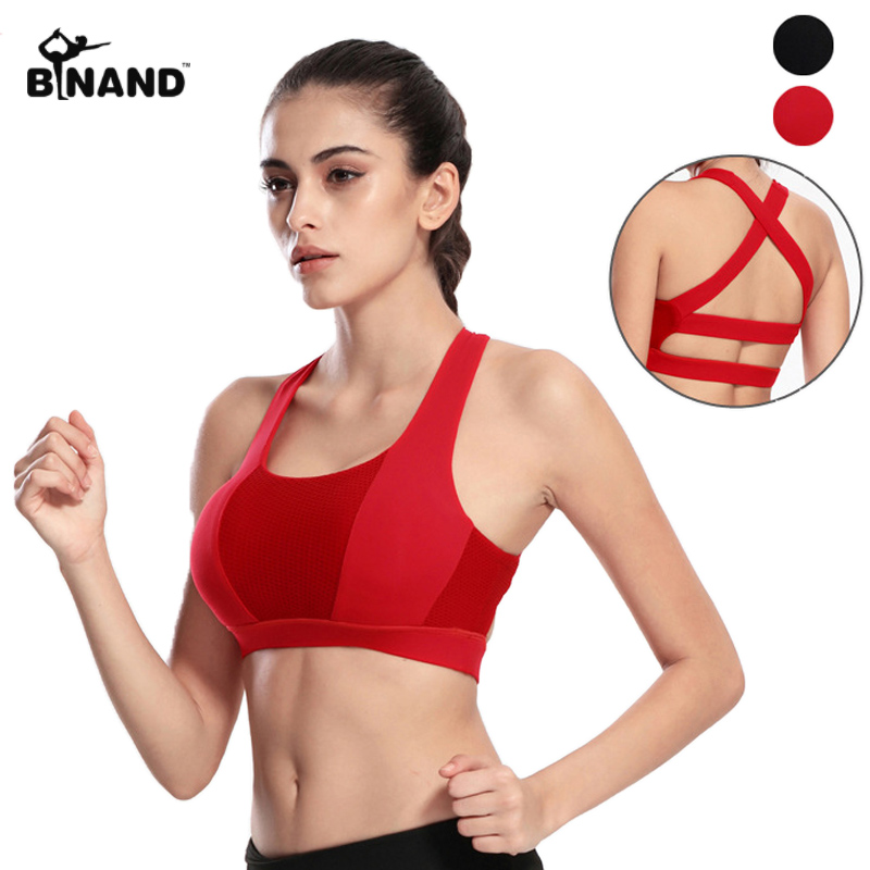 bd83ca4d7630b Backless Wide Elastic Cross Straps Push Up Running Vests Removable Padding  Shake Proof Breathable Underwear Yoga Bras Sports Top
