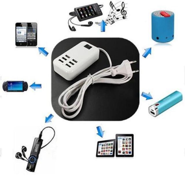 30 W 6 Puertos 5 v/6A ayunan cargador Hub USB Portátil de Escritorio Adaptador de Alimentación de CA Ranuras de Cargador rápido interruptor de Toma de extensión