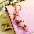 Multicolor Fashion Leather Flower Keychain Leather Tassel Key Chain Car Key Ring Women Bag Charm  Bag Accessories