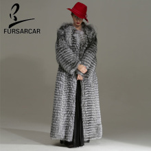 FURSARCAR Casual 2018 Fashion New Women Real Silver Fox Fur Jacket O-Neck Luxurious Winter Coat X-Long Plus Size