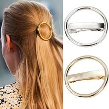 Hot Women Hair Accessories  Punk Circle Hairpin Golden Silver Alloy Round Hair Clip Clamp Headwear  7FMT