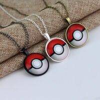 1pc Fashion Silver Anime Pokemon Pokeball Glass Dome Pendant Necklace Jewelry