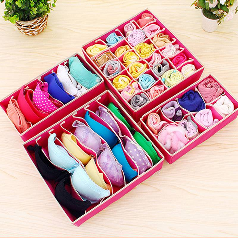 Urijk Storage-Boxes Underwear Shorts Ties-Organizer Divider Socks Drawer Closet Bra 4PCS