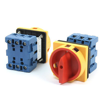 2Pcs 660V 40A 3-Pole 2-Position Square Panel Rotary Cam Changeover Switch