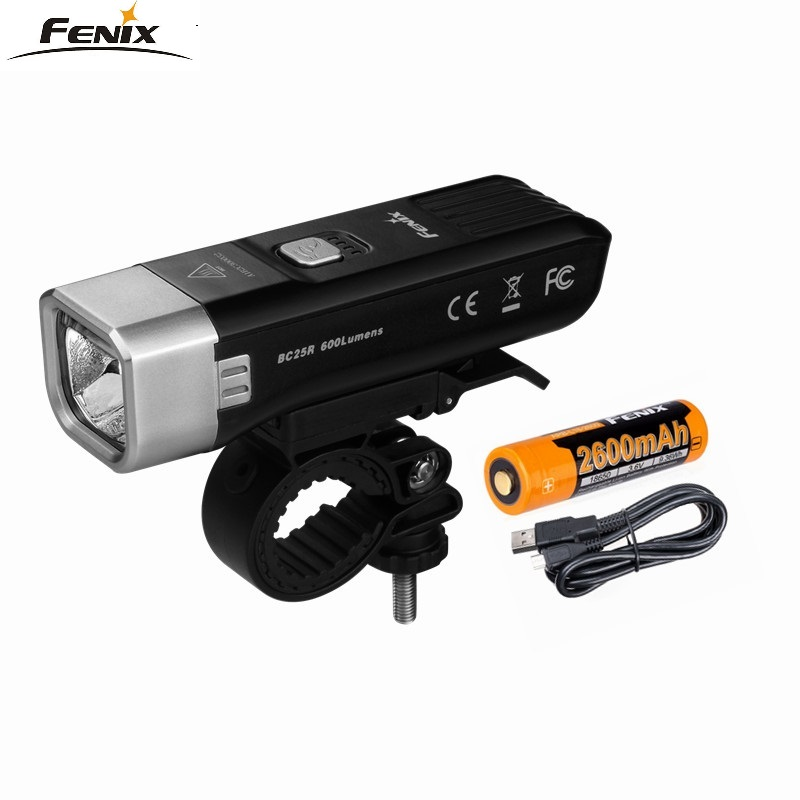 Fenix BC25R CREE XP-G3 Neutral White LED 600 Lumens Bike Light USB Charger Build-in Lithium Battery