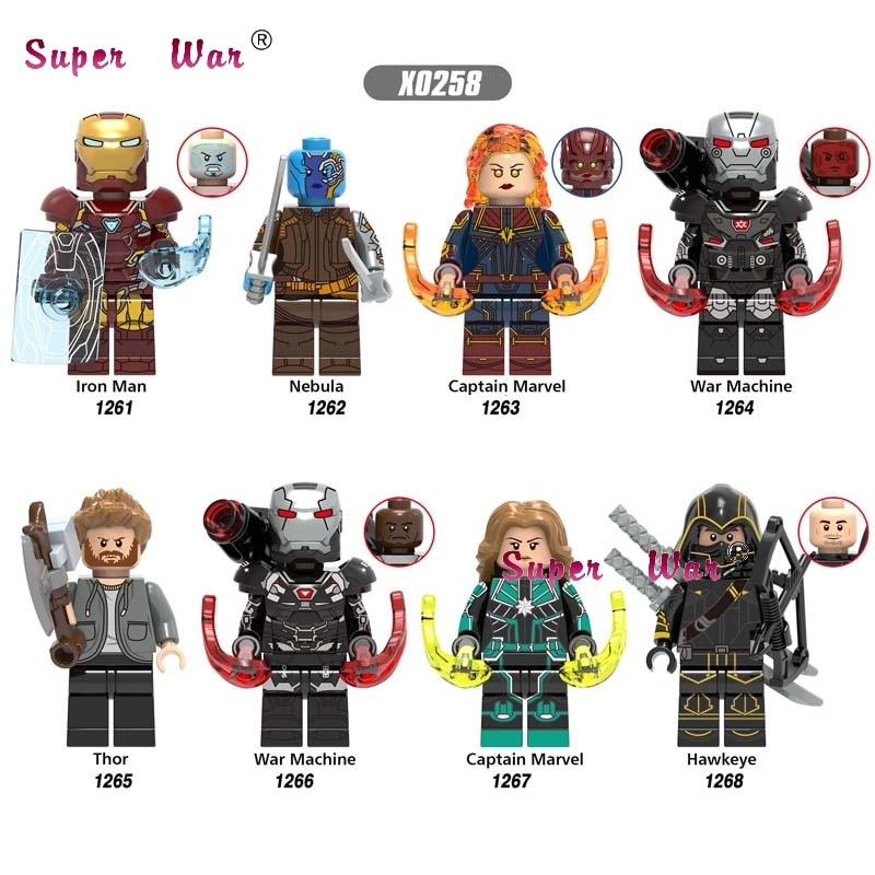 50pcs Avengers Endgame War Machine Iron Man Nebula IronMan Thor Captain Marvel Hawkeye building block for