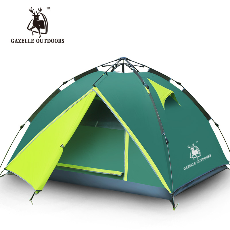 Gazelle 3-4 Person Automatic Opening Tents Ultralight Camping Climbing Waterproof Double Layer Outdoor Travel Sturdy Tent Poles outdoor double layer 10 14 persons camping holiday arbor tent sun canopy canopy tent