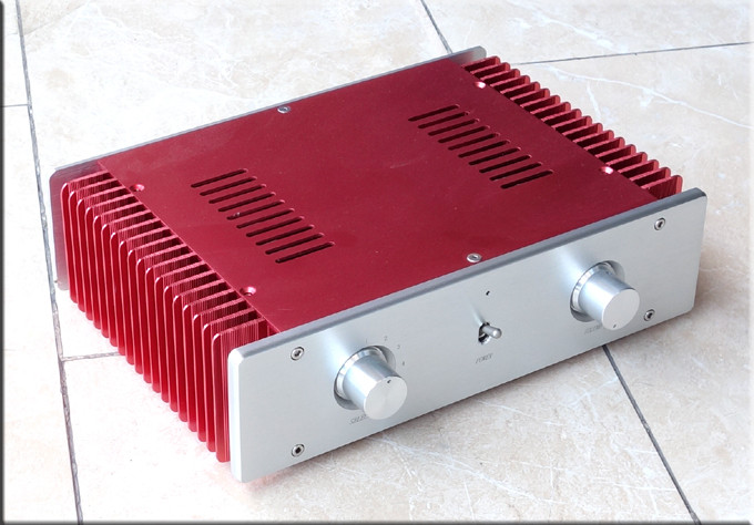 Super Deluxe red Full aluminum chassis amplifier case enclosure headphone Cabinet DAC box 4308 rounded chassis full aluminum enclosure power amplifier box preamplifier chassis