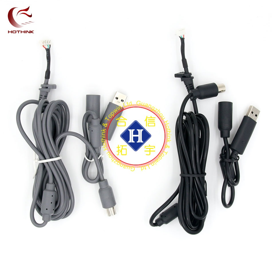 HOTHINK Black / Grey 1.8M USB Play Cable For XBOX 360 / XBOX 360 Slim wired controller repair part