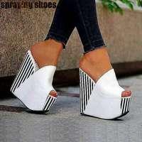 Extreme 15CM Wedge Sandals Black Stripe White Leather Women High Heel Sandals Peep Toe Platform Summer Slippers Shoes Woman 2019