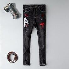 Готические брендовые джинсы мужские прямые облегающие черные с 3d вышивкой размера плюс 29-38 мужские джинсовые брюки хлопковые мужские джинсы, брюки