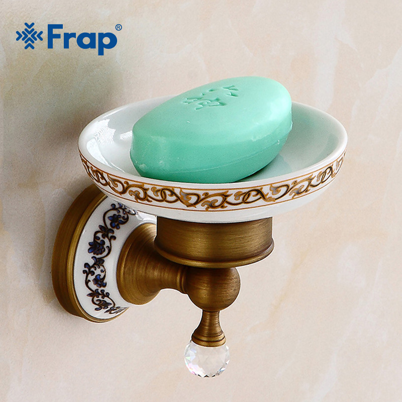 все цены на FRAP New Brass Wall Mounted Soap Dish Holder Copper Bathroom Soap Holder Antique Bathroom Accessories Ceramic Soap Dishes Y18036