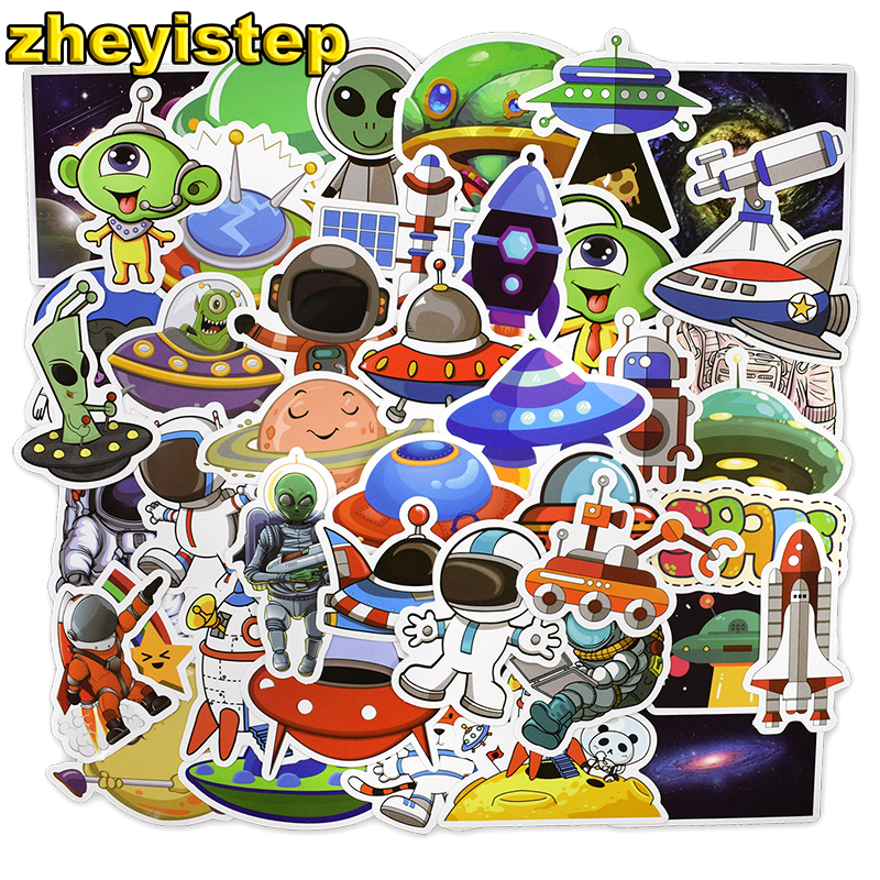 50 Pcs Space Stickers Alien Spaceship Stickers for Skateboard Laptop Car Styling Bicycle Luggage Vinyl Decal Waterproof Stickers 12cm 9cm high gas consumption decal fuel gage empty stickers funny vinyl jdm car stickers car styling black sliver