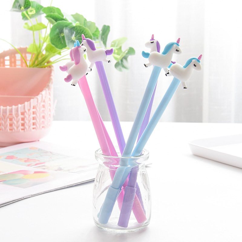 0 5mm Creative Unicorn Flamingos Gel Pens Signature Pen Escolar Papelaria School Office Kids Stationery Supply Promotional Gifts in Gel Pens from Office School Supplies