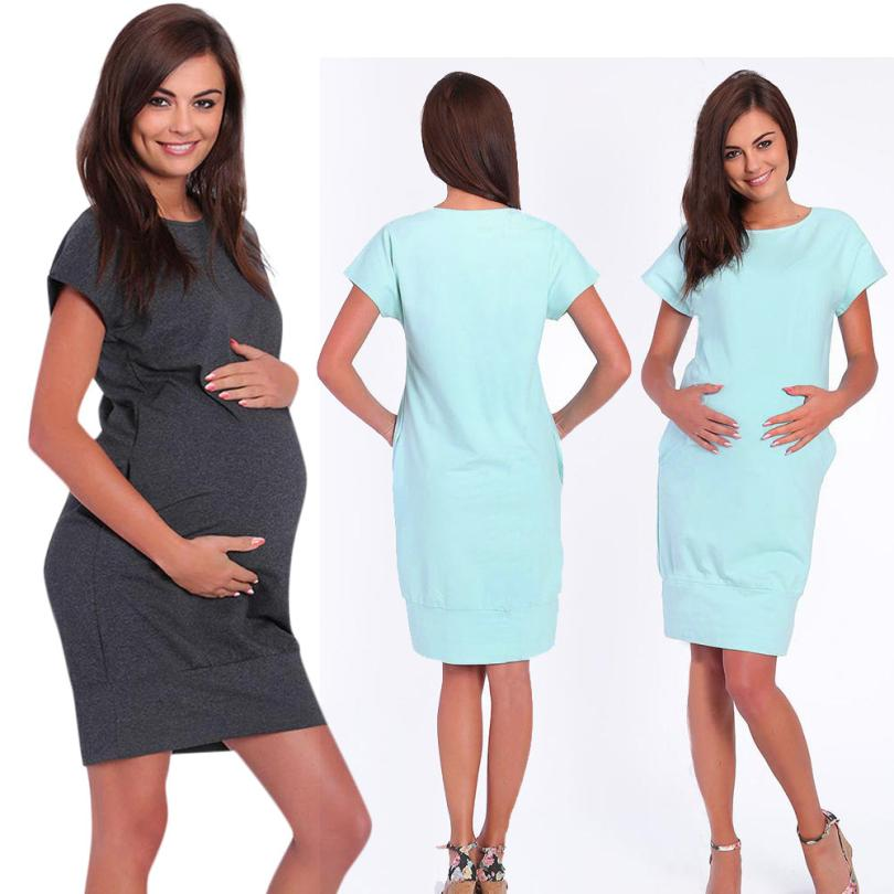Pregnant Dress Women Short Sleeve Nurse Pregnant Maternity Dress Mother Solid Pocket Sundress Pregnant Women 18Jun28