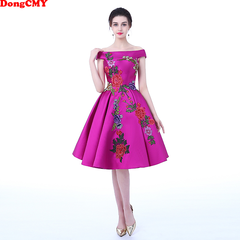 US $46.78 15% OFF|DongCMY 2019 medium long evening plus size Lace up Purple  color party Flower pattern prom dresses-in Evening Dresses from Weddings &  ...