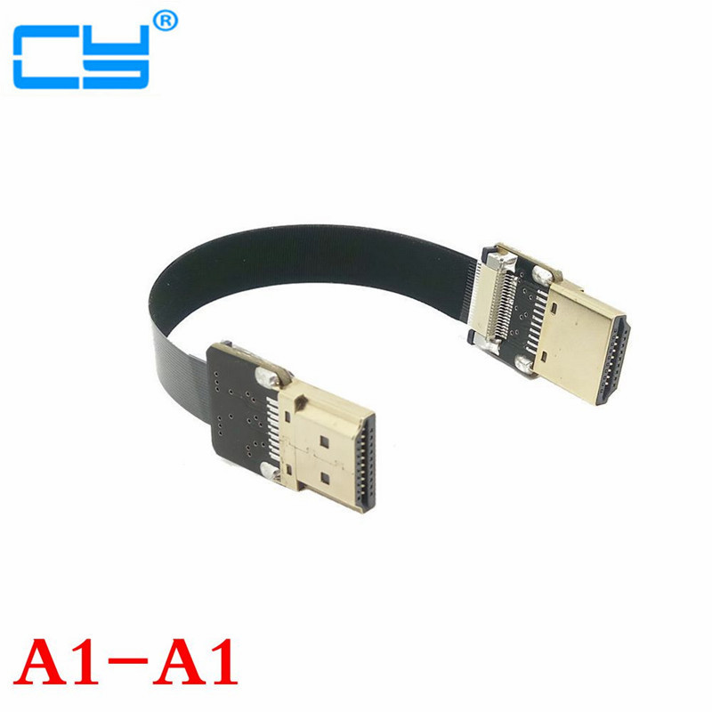 FPV HDMI Type A Male & Female to Down & UP Angled 90 Degree HDTV FPC Flat Cable for Multicopter Aerial Photography 10cm-100cm 2pcs 90 degree up
