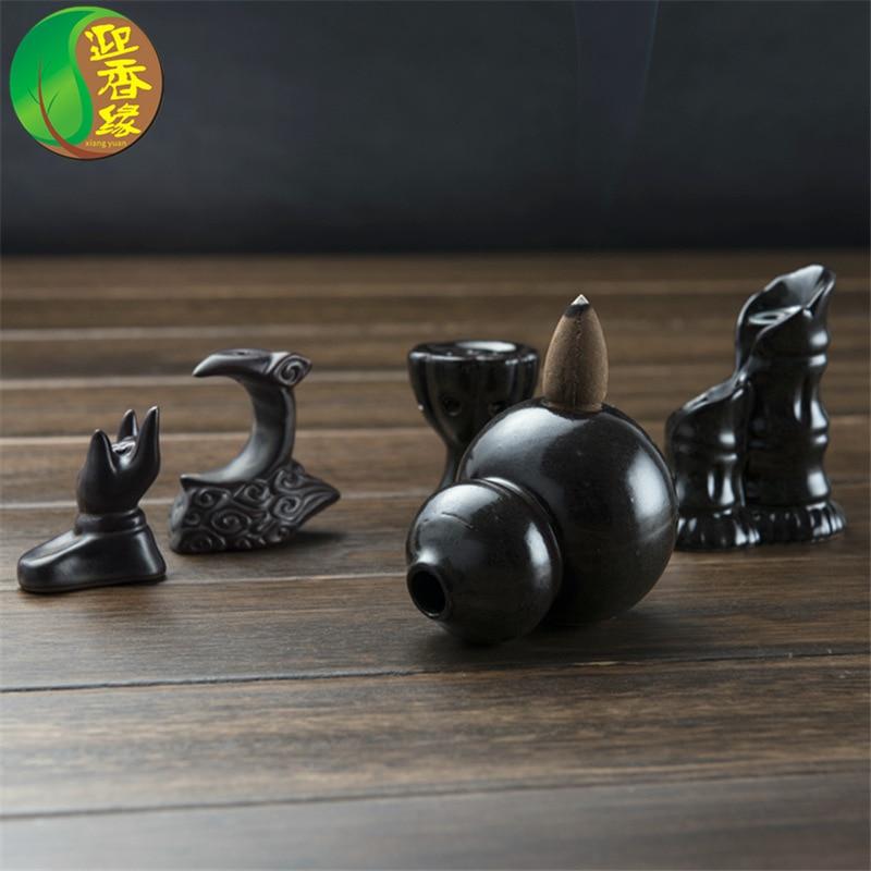 Mini Gourd Lotus Incense Burner Holder Buddhist Cones Backflow Censer Craft Gifts New Ceramic Glaze Incense Holder|Incense & Incense Burners| |  - title=