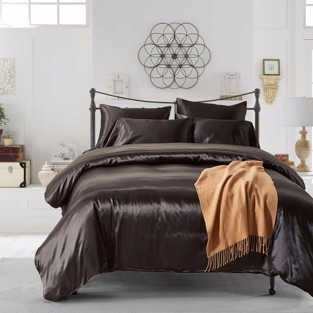 7 Colors Solid Color Satin Faux Silk Bedding Set Duvet Cover Set Bed Cover  US Twin