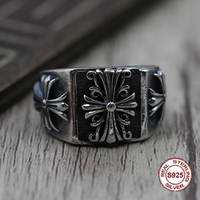 S925 Men's Sterling Silver Rings Personality retro classic punk style Crusader flowers Open ring Send a gift to love 2019 new
