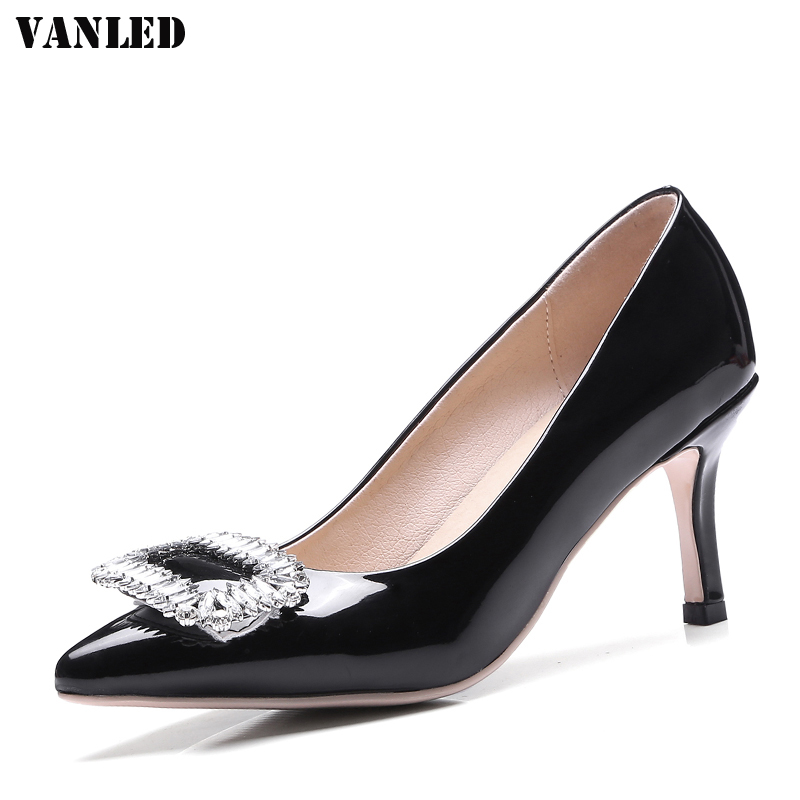 VANLED High Heels Women Pumps 2017 New Crystal Sapato Feminino Thin heel Womens Shoes Pointed Toe Shallow Ladies Pumps Brand new 2017 spring summer women shoes pointed toe high quality brand fashion womens flats ladies plus size 41 sweet flock t179